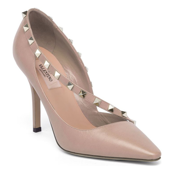 VALENTINO rockstud d'orsay leather point toe pumps - Studded asymmetric strap overlays leather d'Orsay pump....