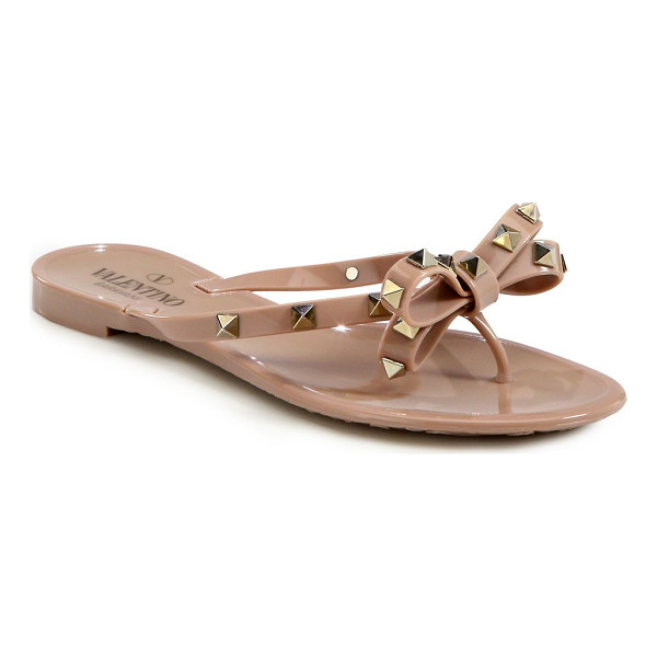 VALENTINO rockstud jelly thong sandals - Jelly bow flip flop sprinkled with signature studs. Studded...