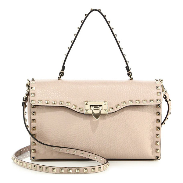 VALENTINO rockstud large leather top-handle bag - Wide leather flap silhouette traced by signature studs. Top...
