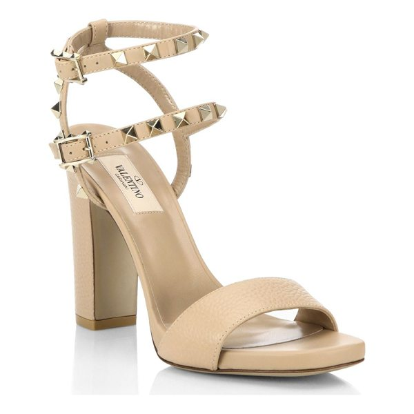 VALENTINO rockstud leather ankle-strap sandals - Pebble leather sandal with dual studded ankle straps....