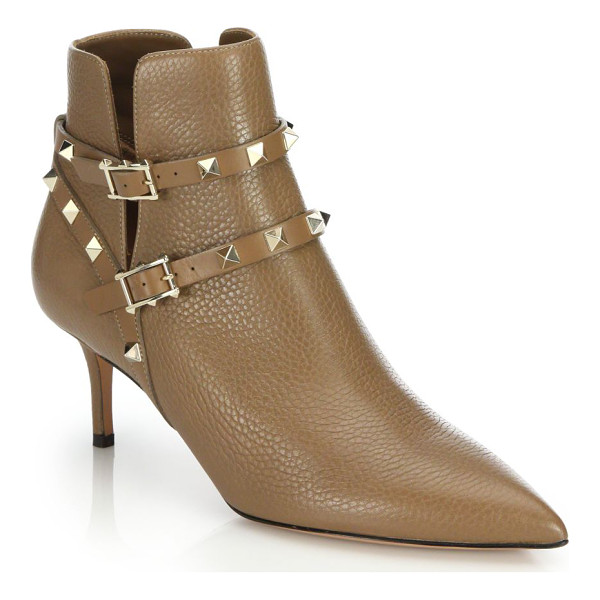 VALENTINO rockstud leather booties - Signature studs are an edgy update to these soft, pebbled...