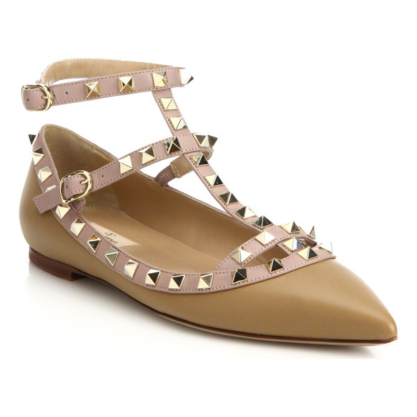 VALENTINO rockstud leather cage flats - Signature rockstuds decorate classic cage flat. Leather...