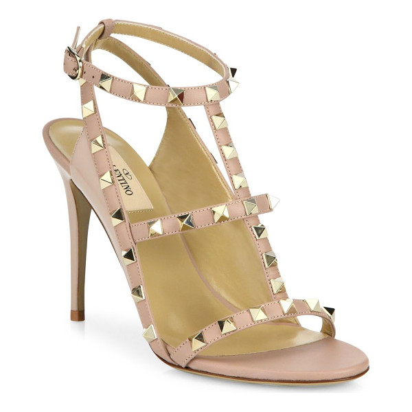 VALENTINO rockstud leather cage sandals - Leather cage sandal traced with signature rockstuds....
