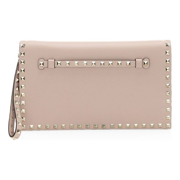 VALENTINO rockstud leather clutch - Smooth leather wristlet clutch with iconic rockstud trim....