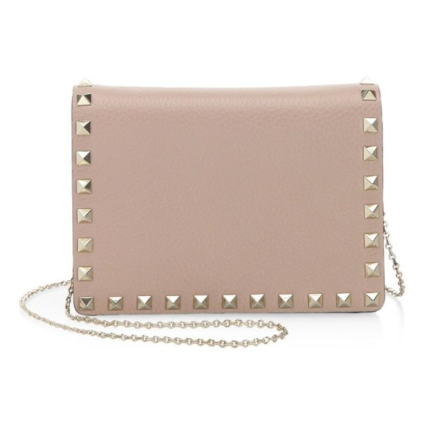 VALENTINO rockstud leather crossbody bag - Leather crossbody bag with stud appliques. Shoulder strap....