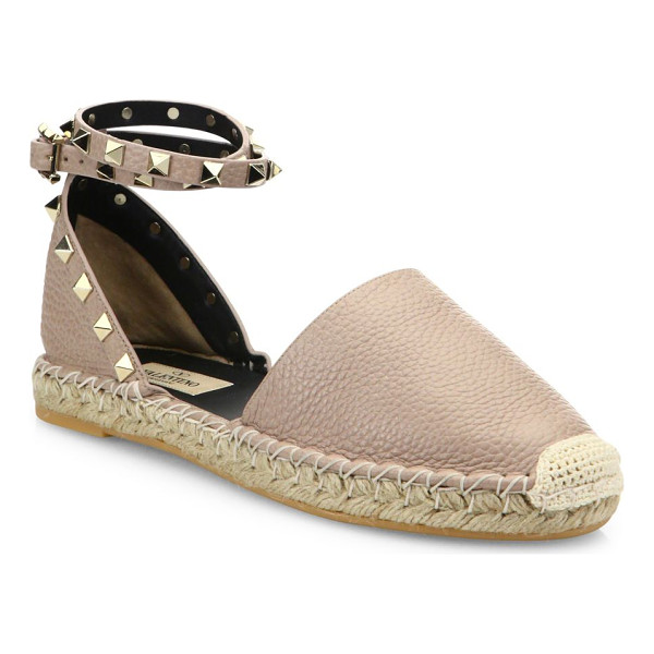 VALENTINO rockstud leather espadrilles - Pebble leather espadrille with studded ankle strap....