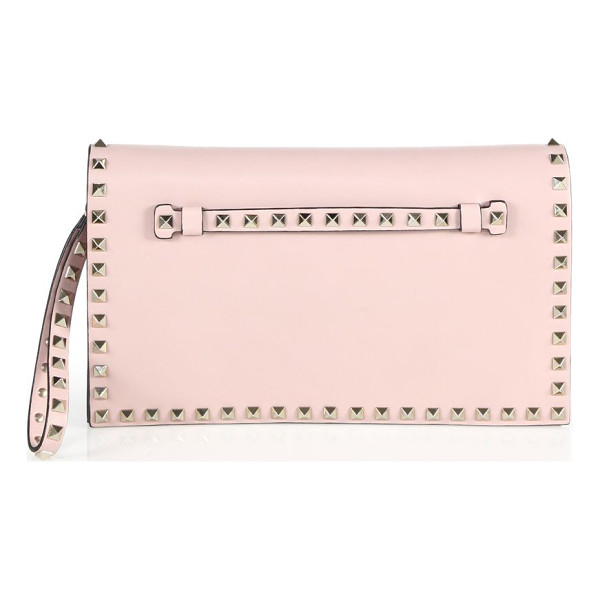 VALENTINO rockstud leather flap clutch - Leather wristlet clutch with signature stud trim. Removable...