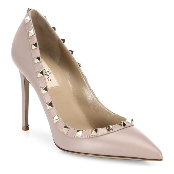 VALENTINO rockstud leather point toe pumps - Leather point-toe pump with signature rockstud trim.