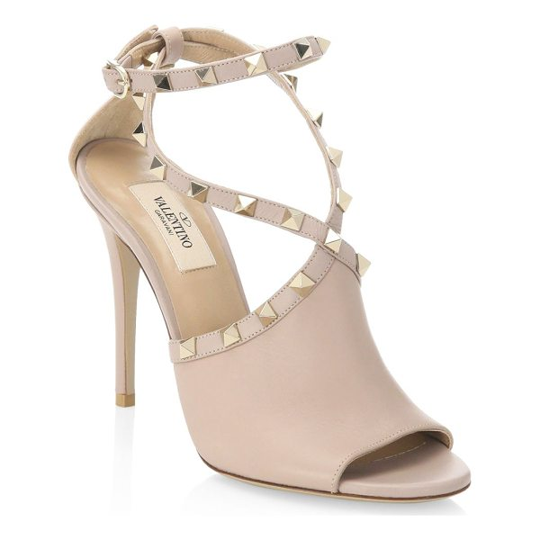 """VALENTINO rockstud leather sandals - Chic studded sandals in luxe leather. Stiletto heel, 4.13""""..."""