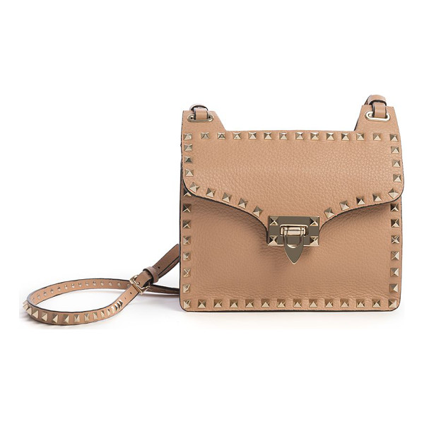 VALENTINO Rockstud leather shoulder bag - Leather flap silhouette traced by signature studsAdjustable...