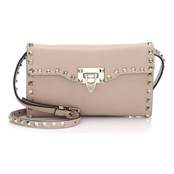 VALENTINO rockstud leather shoulder bag - Leather shoulder bag with metallic studs. Adjustable...