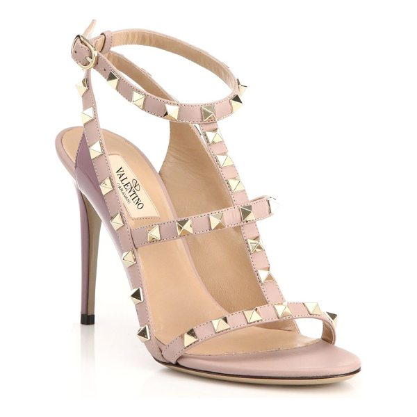 VALENTINO rockstud leather t-strap sandals - Edgy rockstuds trim t-strap sandal set on svelte heel....