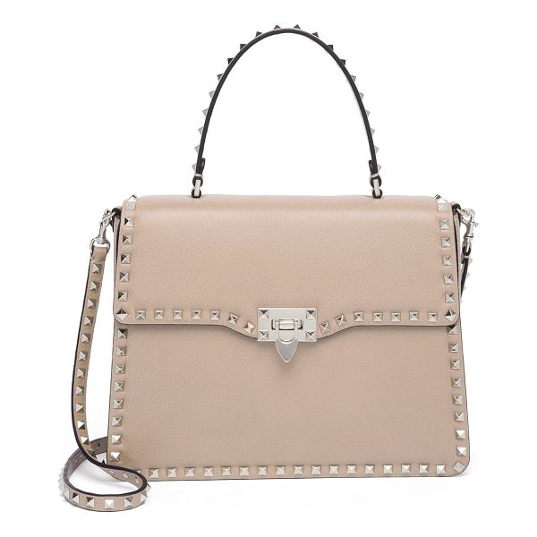 VALENTINO rockstud leather top-handle satchel - Structured leather silhouette outlined with iconic studs....