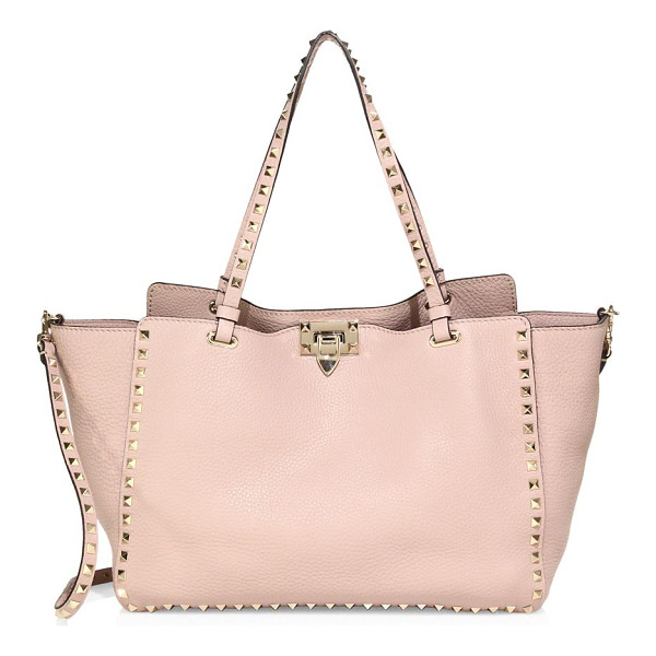 VALENTINO rockstud medium leather tote - Goldtone studs update the classic tote, rendered in