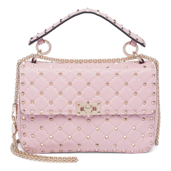 VALENTINO rockstud medium quilted leather chain shoulder bag - Iconic rockstuds elevate quilted leather silhouette....