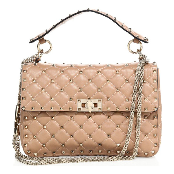 VALENTINO rockstud medium quilted leather chain shoulder bag - Iconic studs polish diamond-quilted leather style. Top...