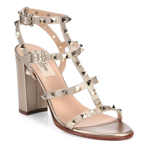 VALENTINO rockstud metallic leather block heel sandals - Iconic T-strap sandal trimmed in signature rockstuds....