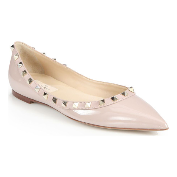 VALENTINO rockstud patent leather ballet flats - Signature metal studs transform this patent leather staple,