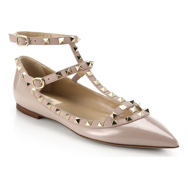 VALENTINO rockstud patent leather cage flats - Signature rockstuds decorate classic patent cage flat....