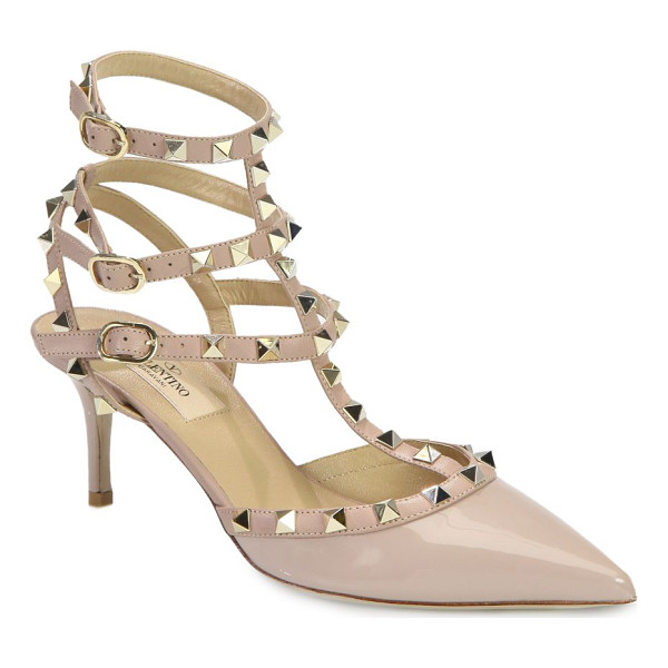 VALENTINO rockstud patent leather pumps - Iconic metal studs add street-style cool to this point-toe
