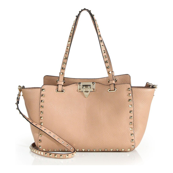 VALENTINO rockstud small leather tote - Rich pebbled leather tote trimmed with iconic pyramid...
