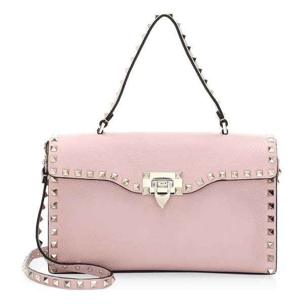 VALENTINO rockstud small single handle bag - Leather crossbody bag enhanced with metallic studs. Top...