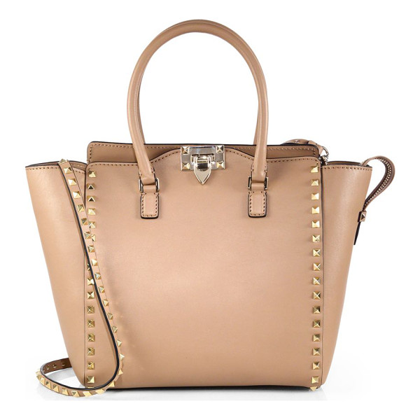 VALENTINO rockstud smooth leather new tote - A refined silhouette in super-smooth Vitello leather, lined...