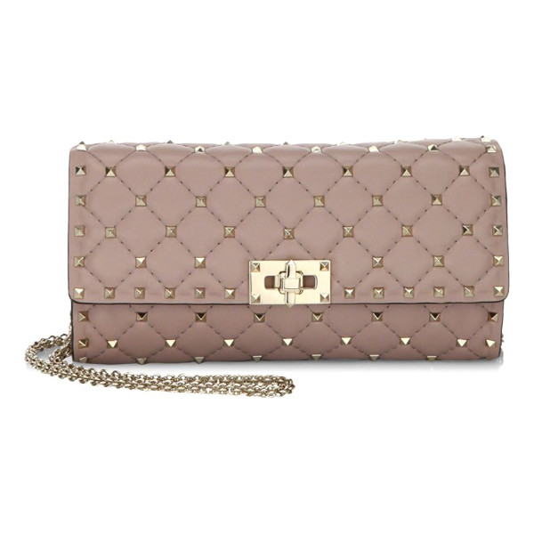 VALENTINO rockstud spike leather clutch - Classy clutch featuring removable chain strap. Removable,...