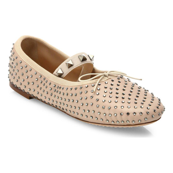 VALENTINO rockstud studded leather ballet flats - Rockstuds trim elastic strap of studded leather flat....