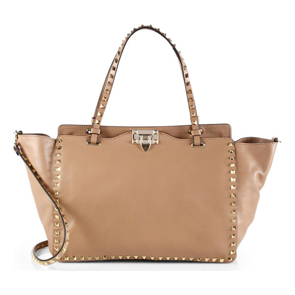 VALENTINO Rockstud smooth calfskin tote - Pyramid studs lend a rock n' roll edge to this sleek...