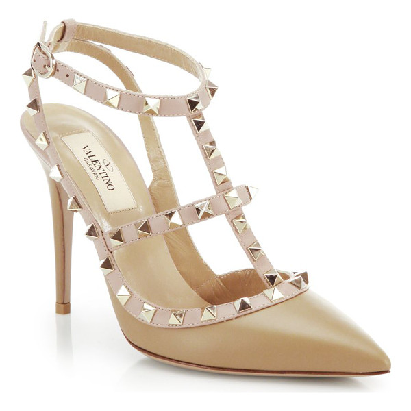 VALENTINO rockstud two-tone leather pumps - The front-row set's favorite shoes get a richly hued update...