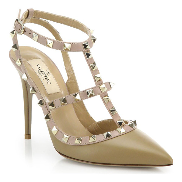 VALENTINO Rockstud leather pumps - The iconic tough-luxe pump gets refreshed in softly...