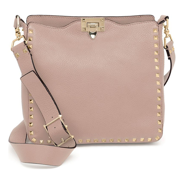 VALENTINO rockstud utilitarian small leather crossbody bag - Classic silhouette of rich pebbled leather with signature...
