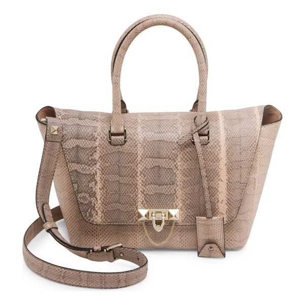 VALENTINO small demi lune watersnake satchel - Striking watersnake satchel with envelope flap. Double top...