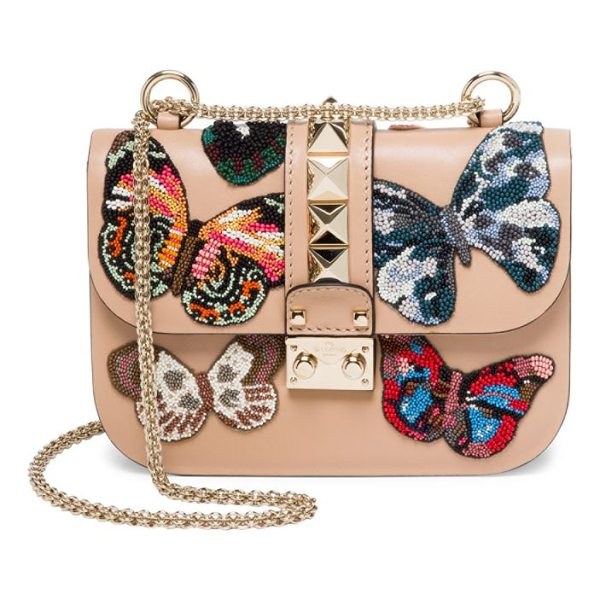 VALENTINO small lock beaded butterfly leather shoulder bag - Beaded butterflies enliven smooth leather shoulder bag....