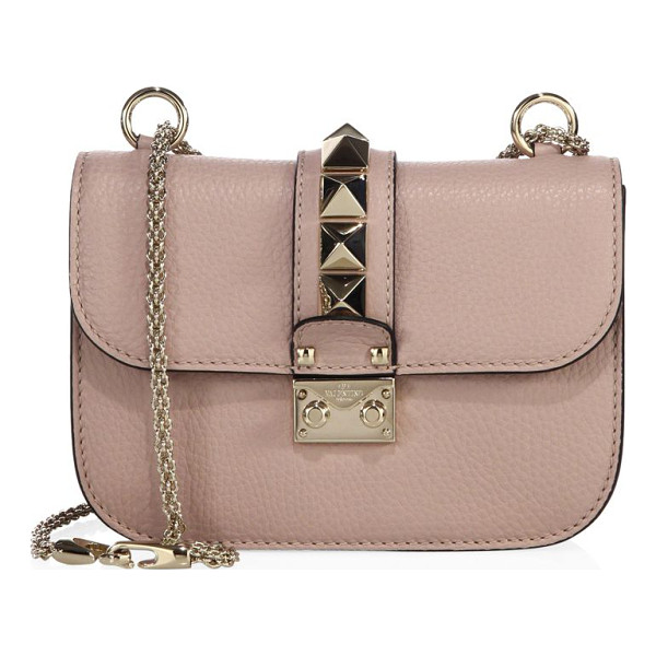 VALENTINO small lock leather chain shoulder bag - Pebble leather silhouette with oversized studded flap.