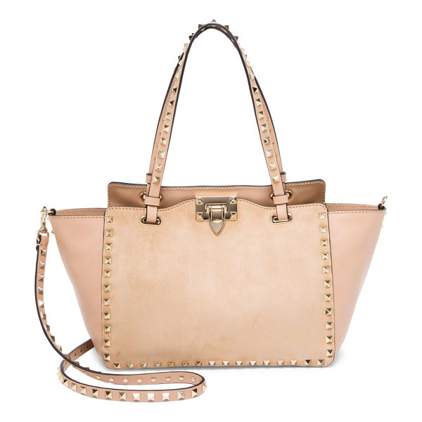 VALENTINO small rockstud leather tote - Leather trapeze tote with signature studded suede center....