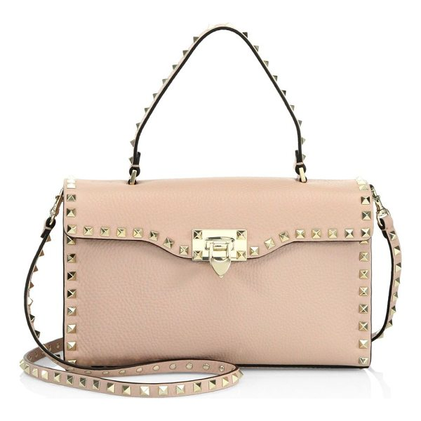 VALENTINO small rockstud leather top-handle satchel - Pebble leather satchel outlined with iconic rockstuds. Top...