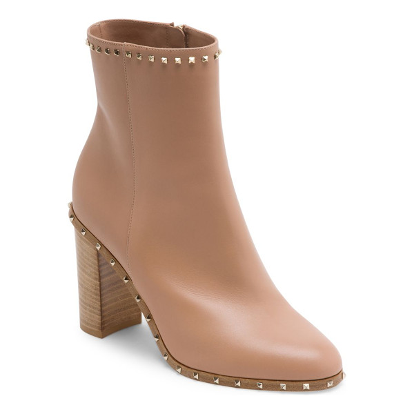VALENTINO soul rockstud leather booties - Sleek leather stacked heel bootie with studded trim....
