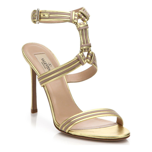 VALENTINO Striped metallic leather sandals - Bands of metallic leather wrap around this understated...
