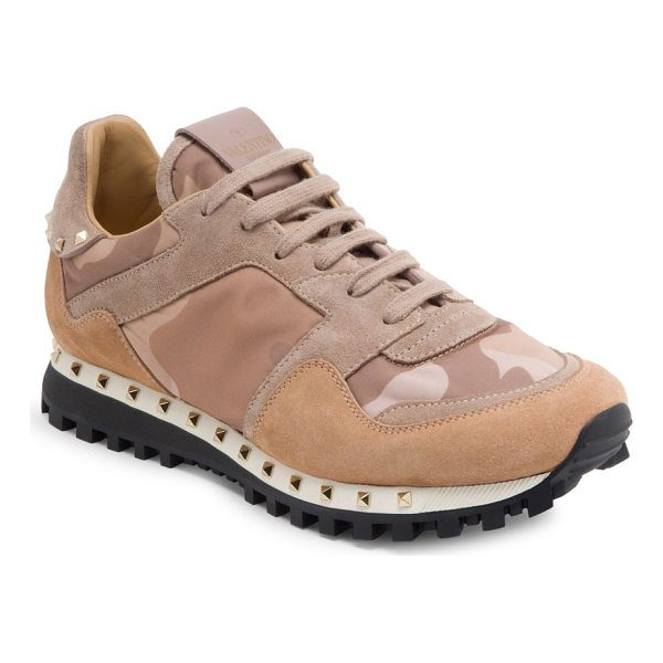 VALENTINO women's studded suede & camo sneakers - Studded suede sneaker with tonal camo-print motif. Suede,...