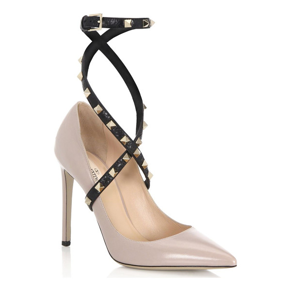 VALENTINO studwrap leather ankle-strap pumps - Polished point toe pump with studded ankle-wrap strap....