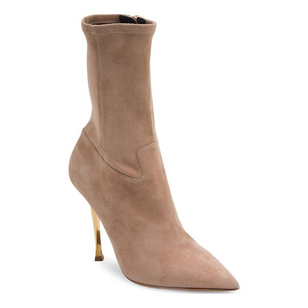 VALENTINO suede point toe booties - Luxe suede ankle boot poised on twisted metallic heel.