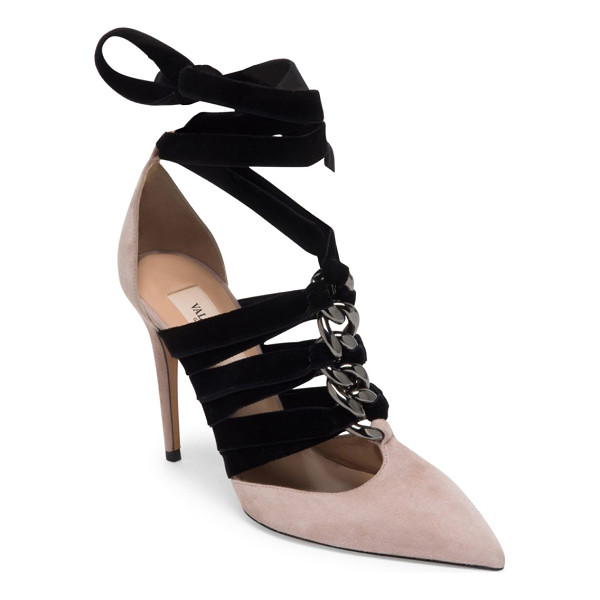 VALENTINO suede & velvet ankle-wrap pumps - Luxe suede point toe pump with chain-woven velvet straps....