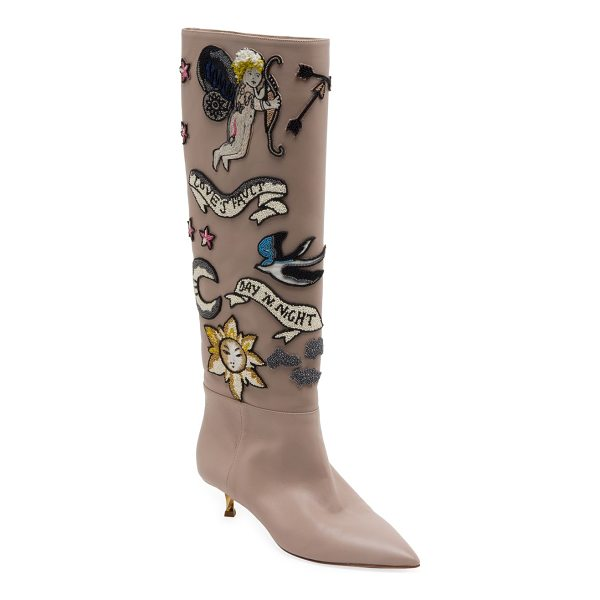 VALENTINO twisteel tall beaded leather boots - Beaded appliques embellish tall leather point toe boot....