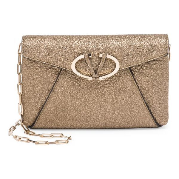VALENTINO v rivet metallic leather chain clutch - Crackled metallic envelope clutch with polished V buckle....