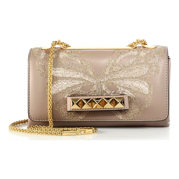 VALENTINO Va va voom embroidered butterfly leather shoulder bag - Supple leather stylishly displays an intricate lace...