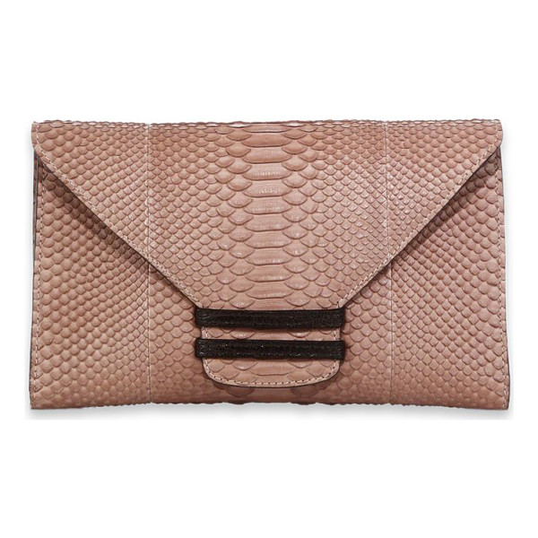 VBH Connor python & ostrich envelope clutch - Exotic meets exotic in a sleek envelope that exudes an edgy...