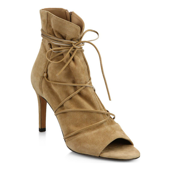 VINCE adisa suede lace-up peep-toe booties - Slim leather laces wraparound chic suede peep-toe bootie....