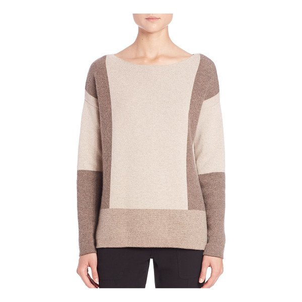 VINCE Colorblock intarsia wool & cashmere sweater - Graphic intarsia updates ultra-soft topper. Boatneck....
